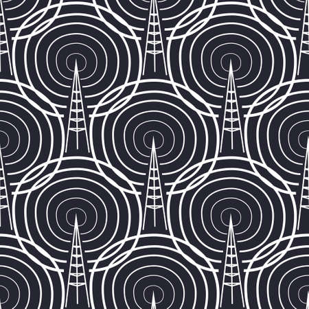 frequency: Vector seamless pattern. Tiling ornament. Endless texture. Seamless monochrome background on white Illustration