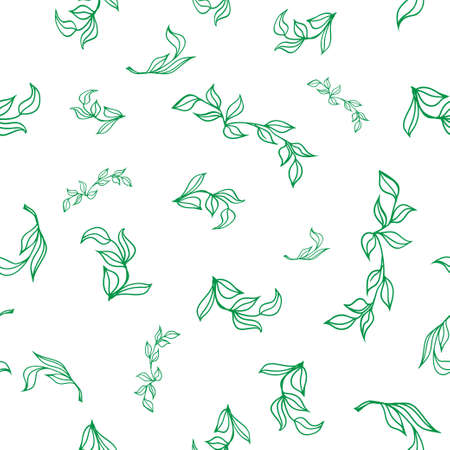 used ornament: Seamless floral hand-drawn pattern, leaf background. Retro pattern with leaves. Organic ornament can be used as wallpaper. Vector illustration Illustration