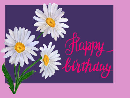 watercolor card with daisy blossoms and text