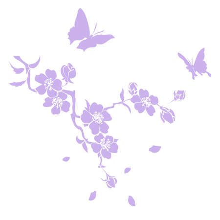 Pink cherry blossoms branch are on white background. Vector illustration Illustration
