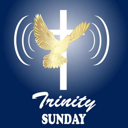 Trinity sunday. Christian church concept. Church sacrament symbol. Holy spirit.Biblical tongues of fire, cross, holy spirit dove. Vector illustration.