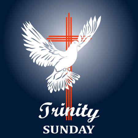 삼위 일체 일요일. 기독교 교회 개념입니다. 교회 성례전의 상징. 성령. 화재, 십자가, 성령 비둘기의 성경적 방언. 벡터 일러스트 레이 션.