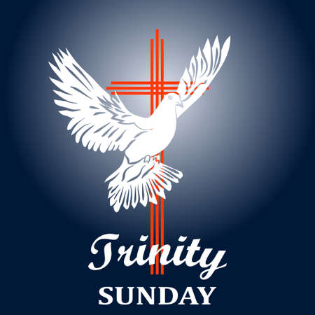 Trinity sunday. Christian church concept. Church sacrament symbol. Holy spirit.Biblical tongues of fire, cross, holy spirit dove. Vector illustration.