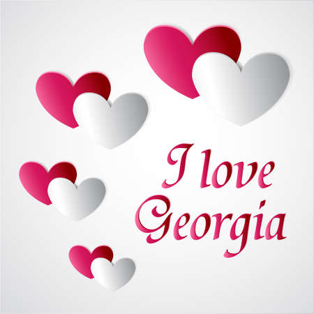 Heart and text I love Georgia on white background.