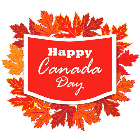 Happy Canada Day poster. Canada Maple leave on white background. Vector illustration