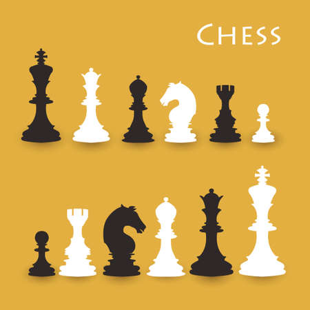 chess rook: Chess Figures big set, black and white. International chess day card. July 20. Illustration