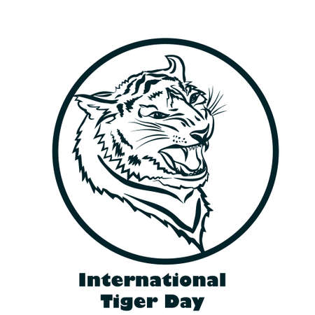 beware: International Tiger day poster template with angry tiger head. Vector Illustration.