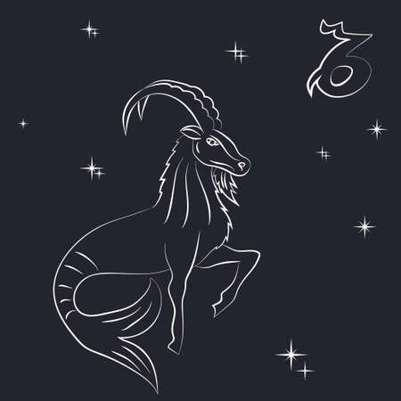 White outline of capricorn are on black background. Çizim