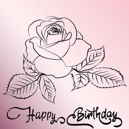 single word: Happy Birthday lettering rose are on pink background, greeting card with fun lettering and roses on pink. Vector illustration