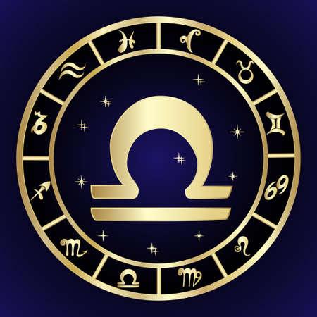 Libra zodiac sign in oval frame, vector Illustration. Contour icon. Illustration