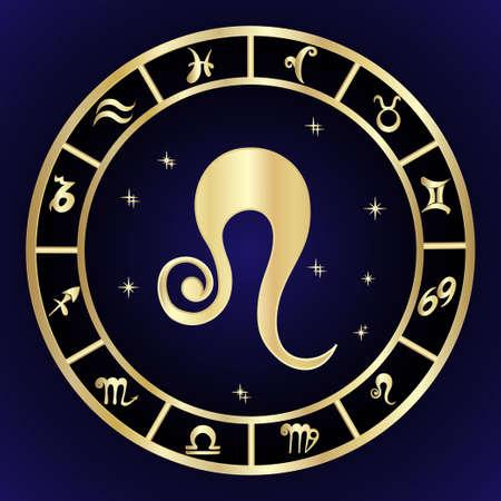 Leo zodiac sign in circle frame 일러스트