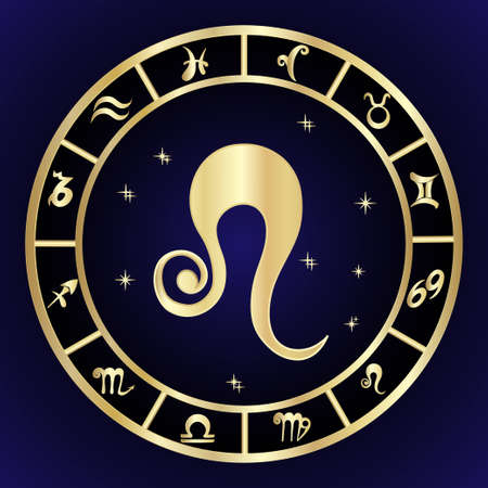 Leo zodiac sign in circle frame Illustration
