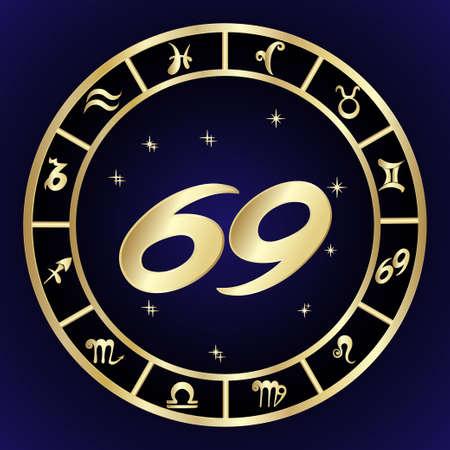 Cancer zodiac sign in circle frame