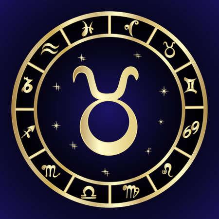 El zodiaco de Tauro firma adentro el marco oval, ejemplo del vector. Icono de contorno Foto de archivo - 84149626
