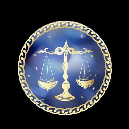 Signo del zodiaco de Libra en el marco del círculo, ilustración vectorial. Icono de contorno Foto de archivo - 84176265
