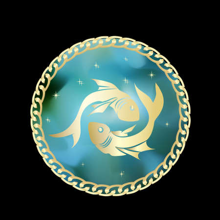 Pisces zodiac sign in circle frame