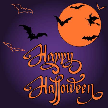 halloween bat on full moon background happy halloween message