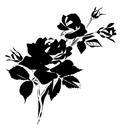 Silhouette of rose isolated on white background. Vector illustration. Illustration