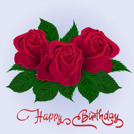 Happy Birthday lettering and rose.Greeting card with fun lettering.