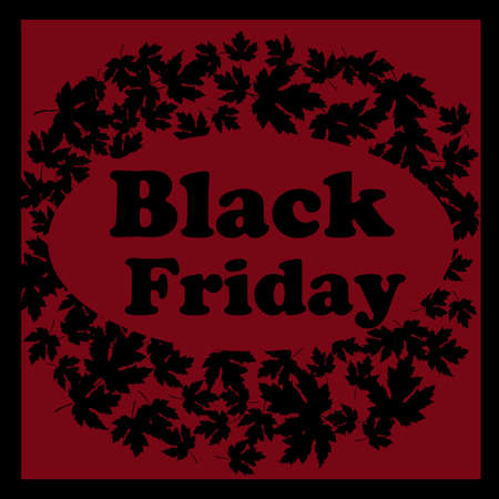 Black friday emblem and Maple leave with text Black Friday. Vector illustration. Illustration