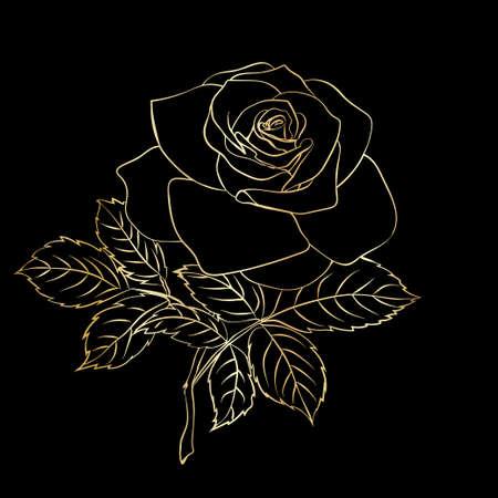Rose sketch, vector illustration. Golden outline on black background.