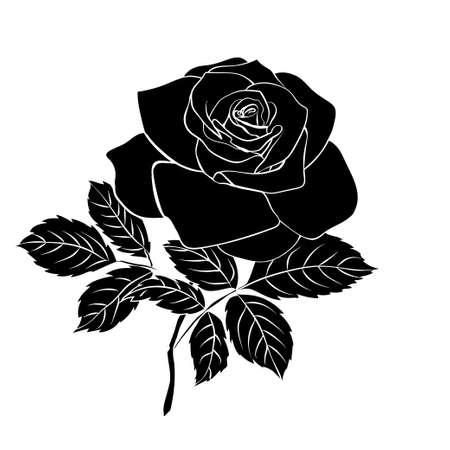 Silhouette of rose on white background, vector illustration.