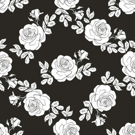 Floral seamless texture with roses vector illustration