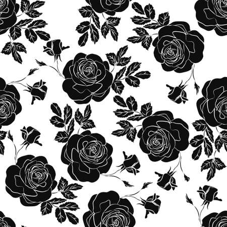 Floral seamless pattern. Floral seamless texture with roses. Vector illustration Illustration