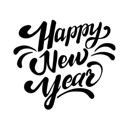 Happy New Year. Holiday Vector Illustration With Lettering Composition