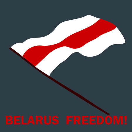 Freedom flag of Belarus. Protests in Belarus after election results on August 9, 2020. Isolated vector template for banner, social media, flyer, posters