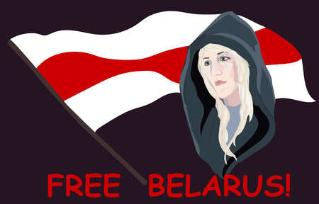 A Belarusian woman stands with tears for the freedom of Belarus. Belarusian red-white flag. FREE BELARUS