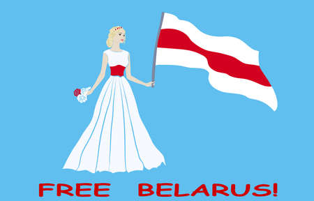 Belarusian girl stands for the freedom of Belarus. Belarusian white-red-white flag. FREE BELARUS.