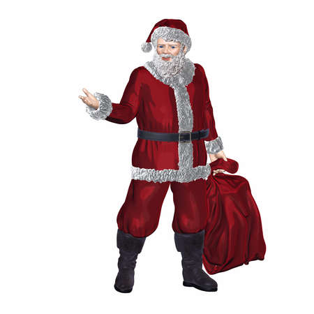Santa Claus and bag with gifts, isolated on white background. Symbol new year. 3d render illustration