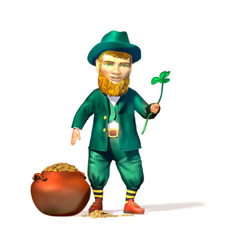 Leprechaun with a pot of gold and leaf clover and luck. 版權商用圖片