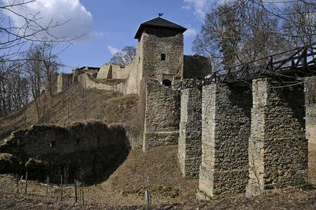morava: Ruin of castle Lukov in area Zlin in czech republic Stock Photo