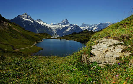panoramatic: The Alps panoramatic view lake and mountains in Switzerland Stock Photo