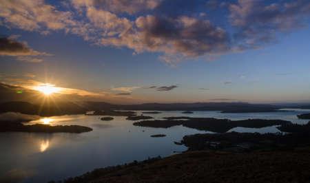loch lomond: Sunrise by Loch Lomond, Scotland  Stock Photo