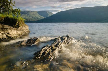 loch lomond: Wave at Loch Lomond in Scotland Stock Photo