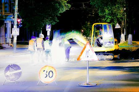 jack tar: abstract photo of road repair, 4 workers repairing the road