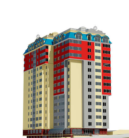 condominium: 3d rendering of modern multi-storey residential building