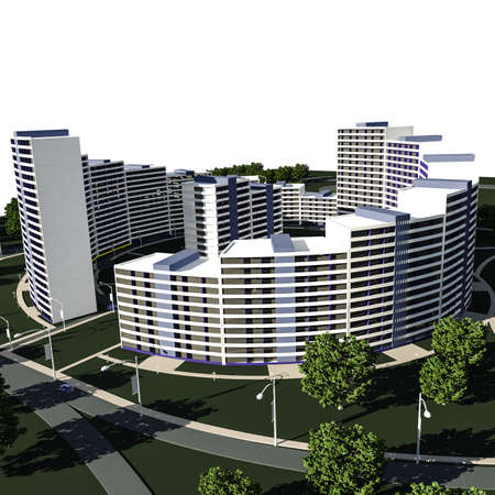 3D render of concept of residential complex on white, residential buildings, architecture background Stock Photo