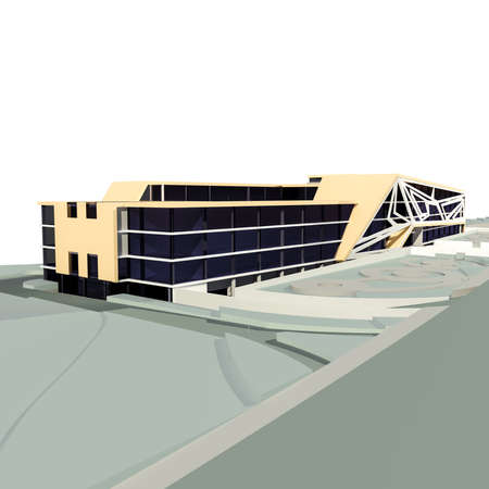 comercial: 3d render of conceptual comercial building on white Stock Photo