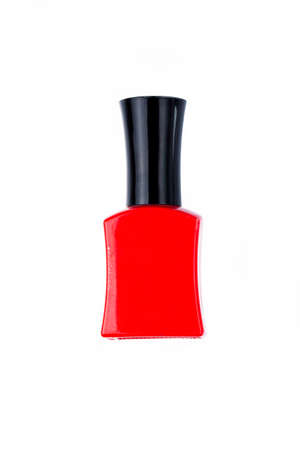 nail polish bottle: red nail polish bottle on white background Stock Photo