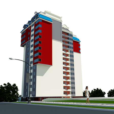 render residence: modern multi story residential building on white, city building