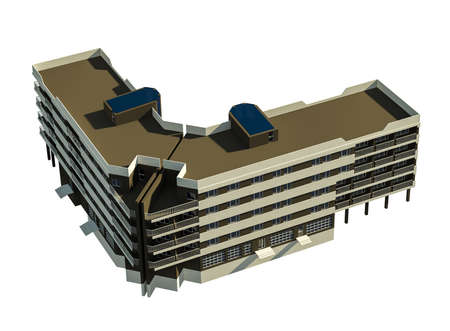 city building: modern 5 story residential building, city building P+4E, city building