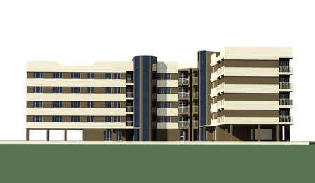 modern 5 story residential building, city building P+4E, city building