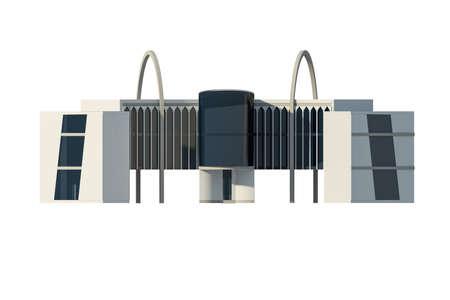 개념적 상업용 건물, 현대 옷을 저장 그림의 3D 렌더링