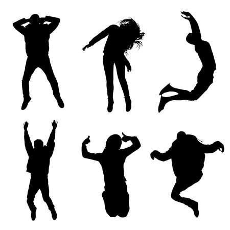 mixed race girl: Vector silhouette of a group of happy jumping people, happy team 2d illustration set Illustration