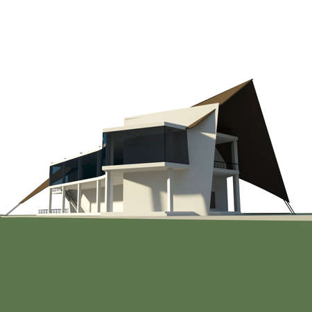architectural rendering: 3d rendering of conceptual ship shaped restaurant, architectural building concept Stock Photo
