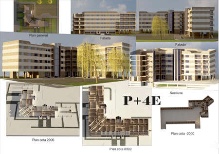city building: project of modern 5 story residential building, city building P+4E, city building